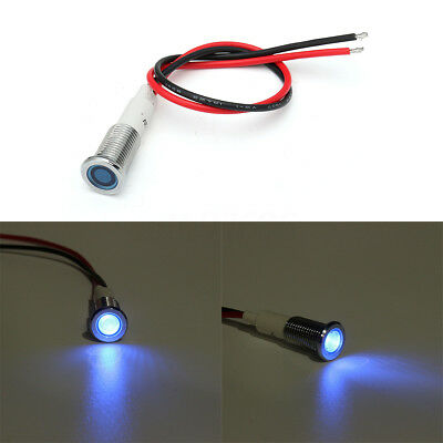 Metal 10mm LED Panel Pilot Dash Light Indicator Lamp Warning Car Truck Boat Blue