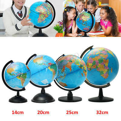 14/20/25/32cm Rotating World Earth Globe Atlas Map Geography Teacher