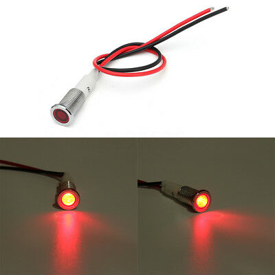 Metal 10mm LED Panel Pilot Dash Light Indicator Lamp Warning Car Truck Boat Red
