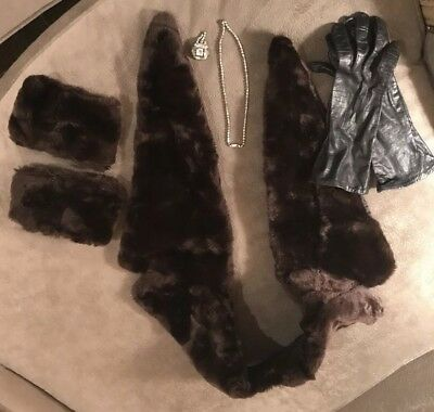 faux fur Cuffs And 1940s Antique Costume jewelry With Leather Gloves.
