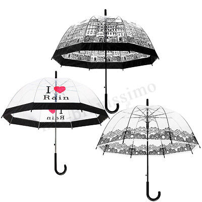 Lady Dome Transparent Clear Lace Building Creative Print Rain Wedding Umbrella !
