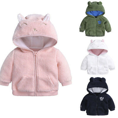 AU Newborn Infant Baby Boys Girl Ear Hooded Pullover Winter Warm Clothes Coat