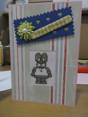 Handmade Cross Stitch Greetings Card