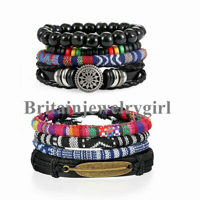 8PCS Mixed Set Leather Braided Beads Wrap Cuff Bracelet for Men Women Adjustable