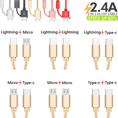 2 in1 Double Head USB Data Cable Micro USB/Lightning/Type C Charging Adapter AU