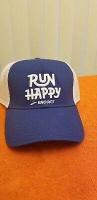 38f116768e7 RUN HAPPY Brooks Trucker Baseball Hat Mesh Snapback Cap Blue White Jogger  New!