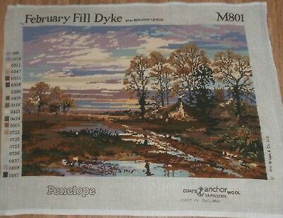 Large Completed Tapestry February Fill Dyke Country Scene Forest Sunset Penelope