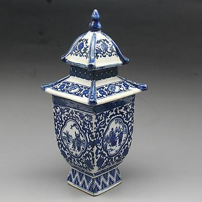 Exquisite Chinese Old blue and white porcelain layered tower W qianlong mark