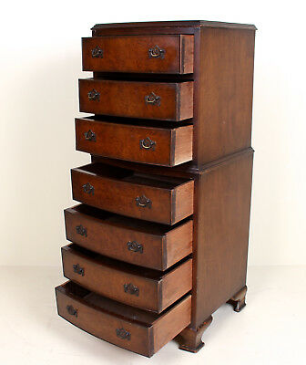 Antique Vintage Walnut Chest on Chest of Drawers Petite Tallboy