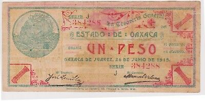 (N20-78) 1915 Mexico 1 PESO red seal revolutionary bank note (BD)