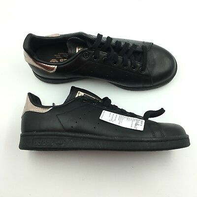 ADIDAS WOMENS BLACK Rose Gold Stan Smith Sneakers Shoes 8 G2511752