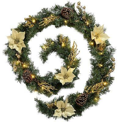 Pre-Lit Decorated Garland Illuminated with 40 Cold White LED Lights, 9 feet Gold