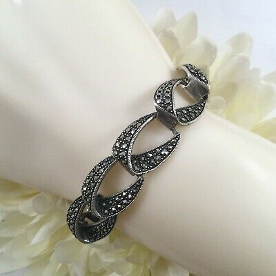 Antique Vintage Jewelry Sterling Silver Bracelet Marcasites  Art Deco Jewellery