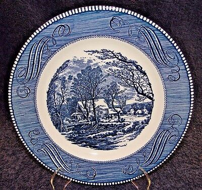 Currier Ives Royal China Blue White Old Grist Mill Dinner Plate 10""