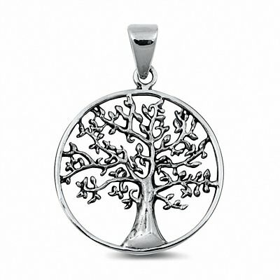 Tree of Life Pendant Charm Solid 925 Sterling Silver Choose Color