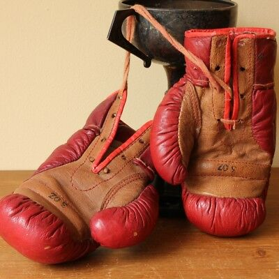 Small 1950's Leather 3oz Boxing Gloves. Vintage Red Tan Miniature Child Size