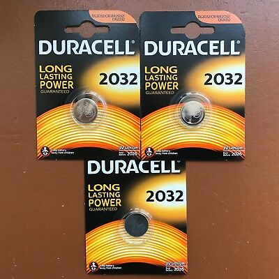 3 X Duracell CR2032 3V Lithium Button Battery Coin Cell DL/CR 2032 LONGEST EXP