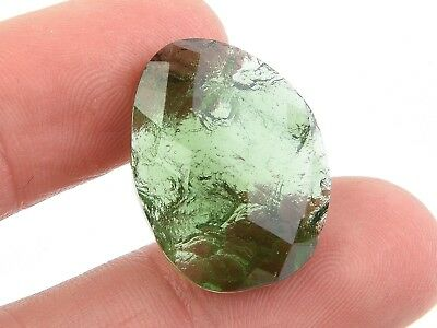 MOLDAVITE CABOCHON FACETED/NATURAL 3.68g #BRUS1834