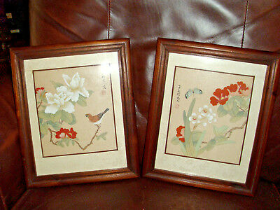 "Two Asian ""Prints"" on Silk in Walnut Frames"