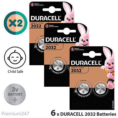 6 X Duracell CR2032 3V Lithium Button Battery Coin Cell DL/CR 2032 LONGEST EXP