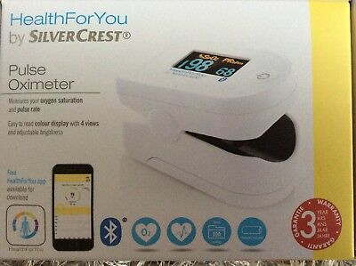 Bluetooth HealthForYou Pulse Oximeter  Colour Display SilverCrest