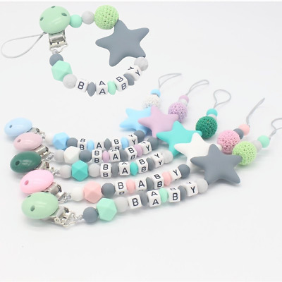 Personalised Baby Name Dummy Clip Pacifier Chain Dummie Binky Soother Holder New