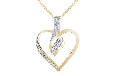 """925 Sterling Silver Diamond 3 Stone Heart Pendant Necklace (1/4 cttw), 18"""""""