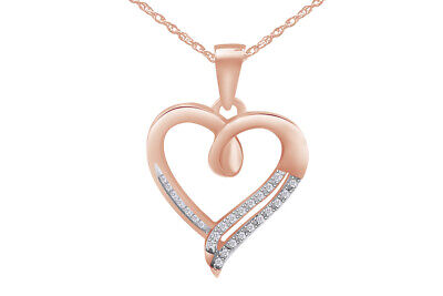 Sterling Silver 925 Round Diamond in Heart Pendant (1/10 cttw)