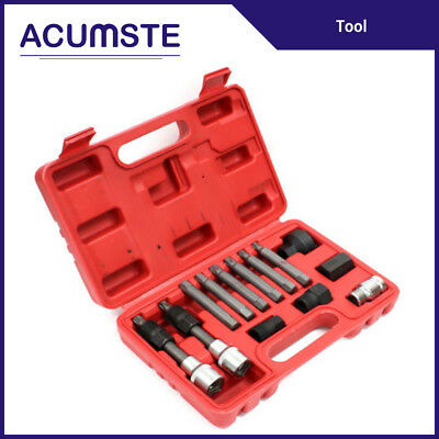 18 Pcs Alternator Pulley Service Decoupler Insert Bit Socket Set Tool Kit Car Pulley Removal Decoupling Puller