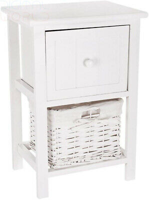 Bedside Cabinet Shabby Chic Style Wooden Drawer Side Table Storage Furniture New