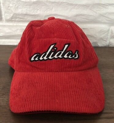 83496ccc952 Vintage Adidas Originals 90s Corduroy Red Black Adjustable Baseball Cap Hat