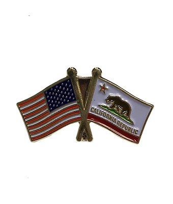 State of California Double Flag Lapel Pin with USA Flag