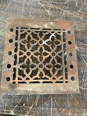 RL 11 antique cast-iron heating grate Face 7.75 x 8 1/8 as found