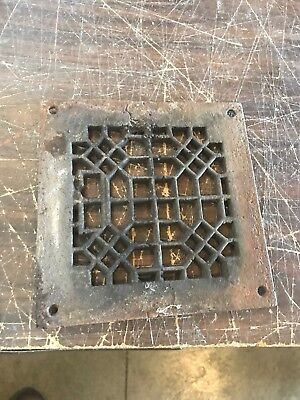 Rl 9Antique Cast-Iron Heating Grate Face 7.5 Square As Found Condition
