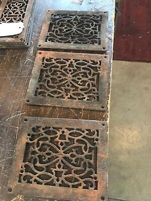 Rl 13 4Av Price each antique cast-iron heating grate face 7 5/8 X 9.5 Rusty