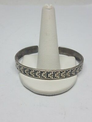 925 Sterling Silver Bangle Bracelet Stamped TM-107 Mexico Length 6 3/4 Inches