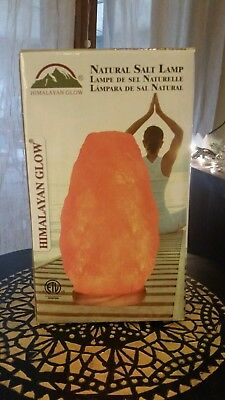 Himalayan Glow Natural Salt Lamp with Dimmer and Wooden Base 5lds New in Box