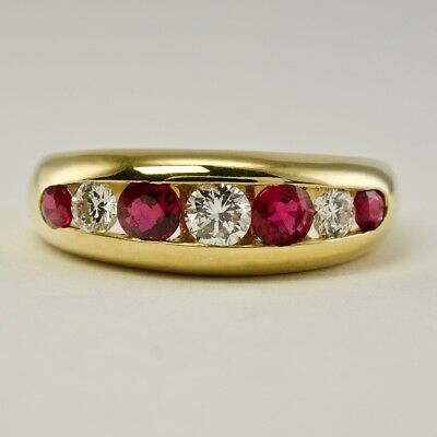 Hammerman Brothers Ruby Diamond Band Ring 18K Yellow Gold