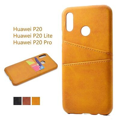 Real Genuine Cowhide Card Slot Leather Phone Case Cover For  Huawei P20 Lite/Pro
