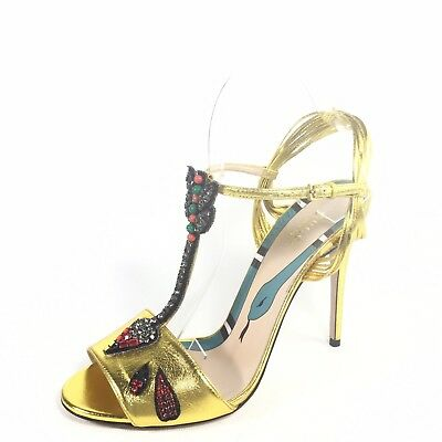 fb595e32a Gucci Womens Size Euro 39 Gold Heel T-strap Dress Ankle Strap Sandals