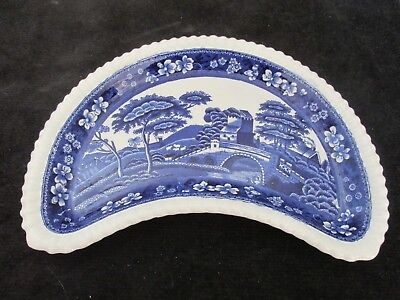 Old Copeland Spode's Tower England Blue Half Moon Shaped Serving Dish (7 Avail)