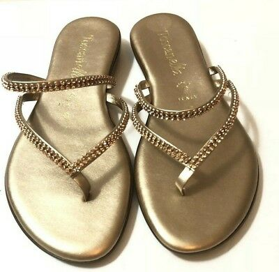 d166f040b093e ITALIAN SHOEMAKERS TOSCANELLA Made In Italy Sandals Slip-on RHINESTONE 8.5