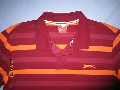 """Slazenger polo shirt top dark red with orange stripes S suit 36 - 38"""" chest"""