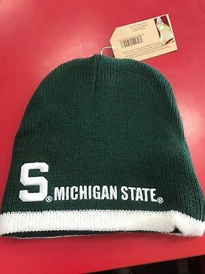 91c8271ecd1 Michigan State Spartans Knit Beanie Toque Winter Hat skull cap NEW  Reversible Lt