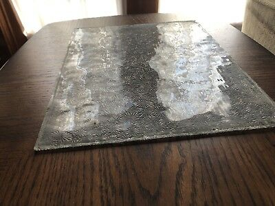 "Antique Florentine Privacy Window Glass 13 1/8"" X 10 1/2"" Old Flower Replacement"