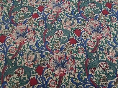 William Morris Curtain Fabric 'GOLDEN LILY MINOR' 3.5 METRES Biscuit/Indigo/Red