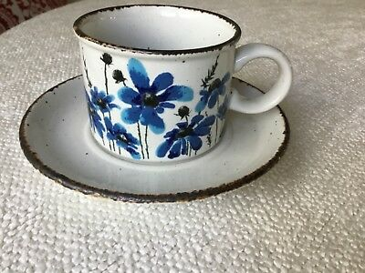 Midwinter Stonehenge Spring Blue Flower Cup Mug and Saucer England Blue Flowers