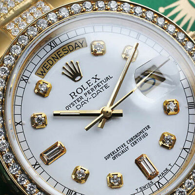 Rolex Presidential 36mm Diamond White Dial Custom Set Diamond 18k Gold Watch
