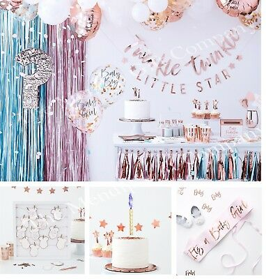 Rose Gold Baby Shower Party Supplies Gender Reveal Decorations Tableware Favours
