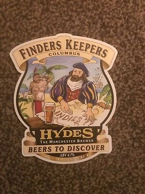 Hydes Finder Keepers Beer Pump Clip Breweriana Brand New Free Fast P+P
